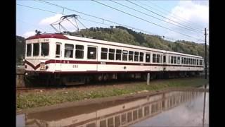 吊り掛け駆動車 停車2秒タッチ&ゴー 京福電車