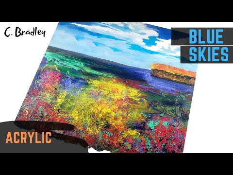 Blue Skies Abstract Landscape Painting Step by Step Demo of Acrylic Painting by Chris Bradley