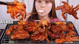 ASMR Mukbang|Eating Spicy grilled webfoot octopus, chicken feet and chicken wings.