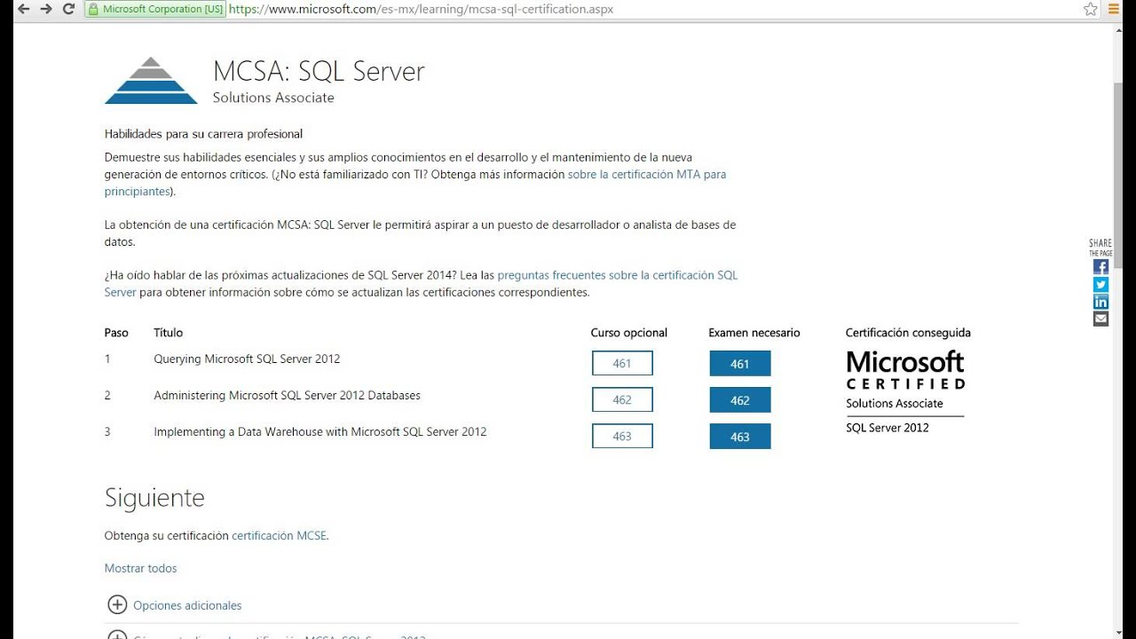 Curso Para Certificacion Microsoft Sql Server 2012 70 461
