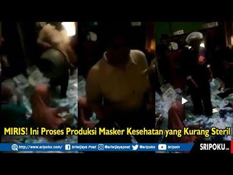MIRIS! Ini Proses Produksi Masker Kesehatan Yang Kurang Steril, Karyawannya Asyik Injak Injak Masker