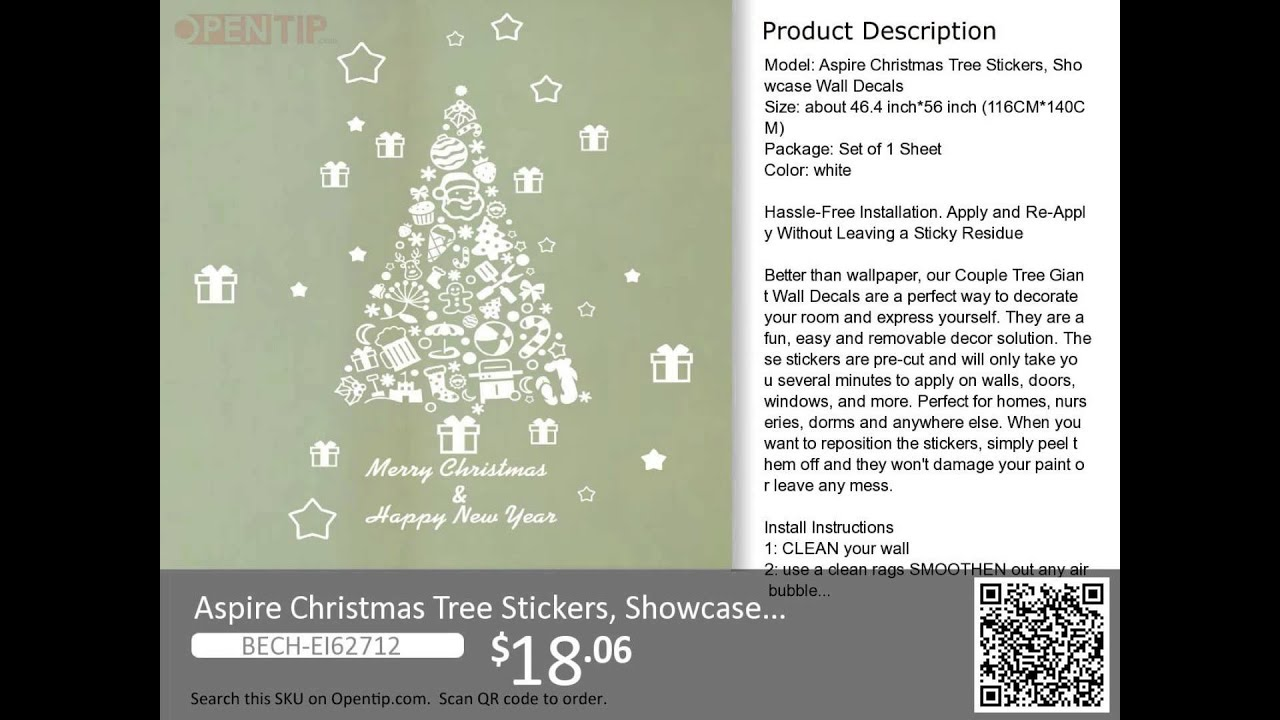 Aspire Christmas Tree Stickers, Showcase Wall Decals from Opentip ...