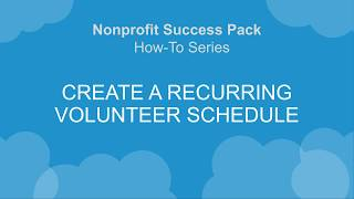 V4S How-To Series: Create a Recurring Volunteer Schedule