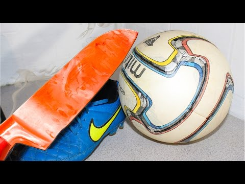EXPERIMENT Glowing 1000 degree KNIFE VS SOCCER BALL (Credit: Fire sweet Fire)