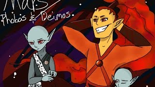 Planet Mars, Phobos, and Deimos