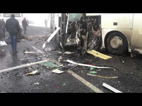 Iğdır Aralık'ta meydana gelen Otobüs Kazasının Hemen sonrası çekilen görüntüler.