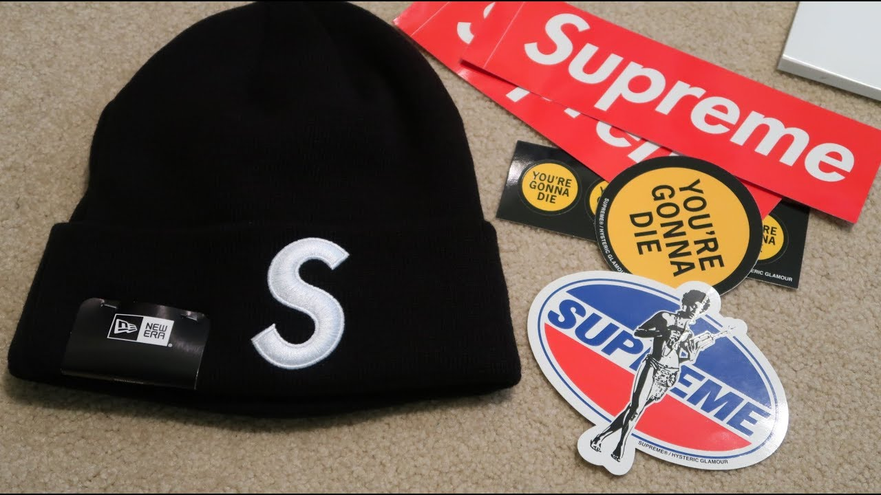 0f0b58bc359f1 Supreme FW17 Pickup Unboxing Week 6  New Era S Logo Beanie  - YouTube