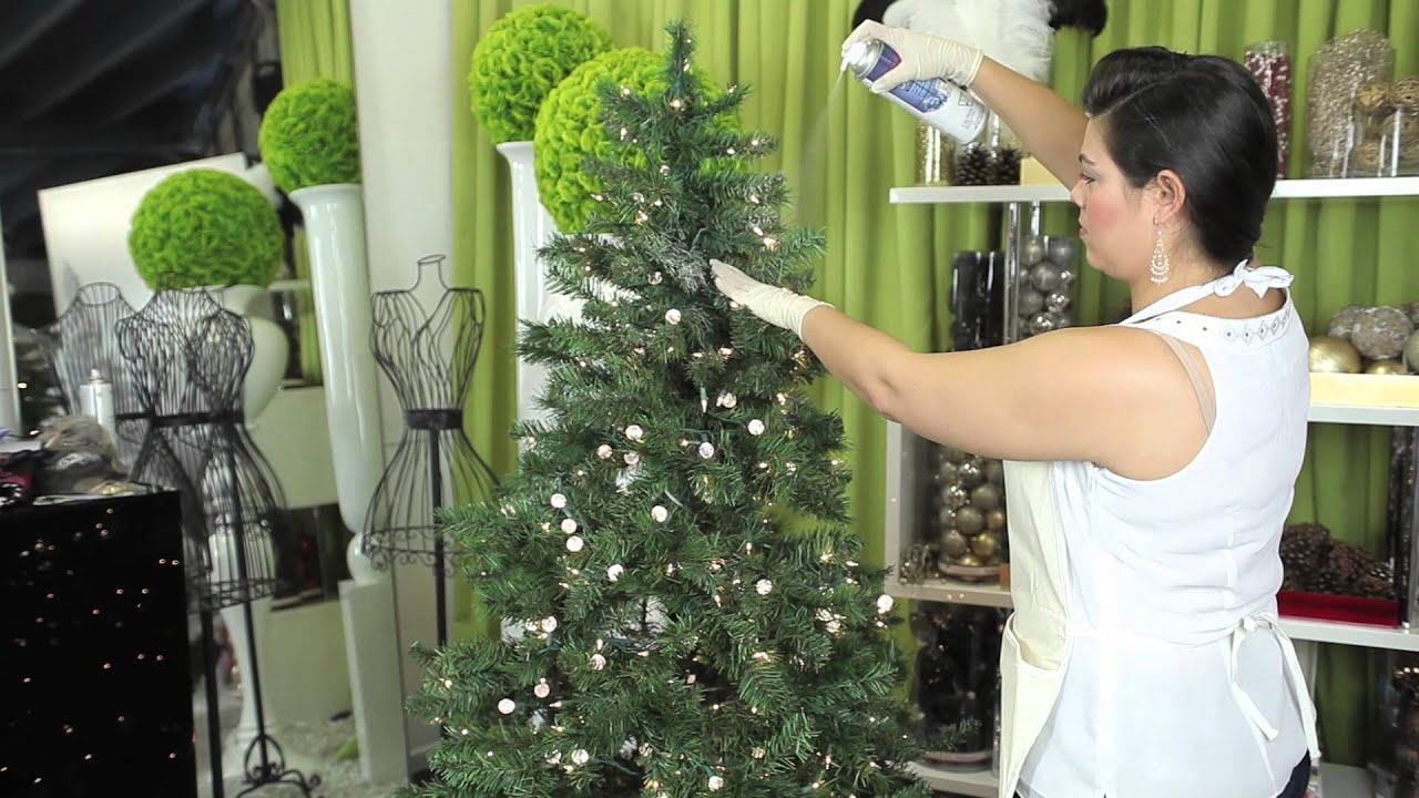 how to decorate a white flocked christmas tree modern christmas decorating youtube