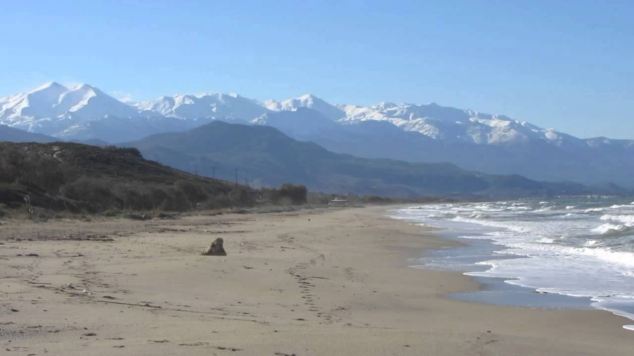 Georgioupolis beach Crete, on a sunny winter's day - YouTube
