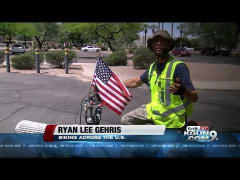 Man rides bike across US to raise awareness for Gold Star kids