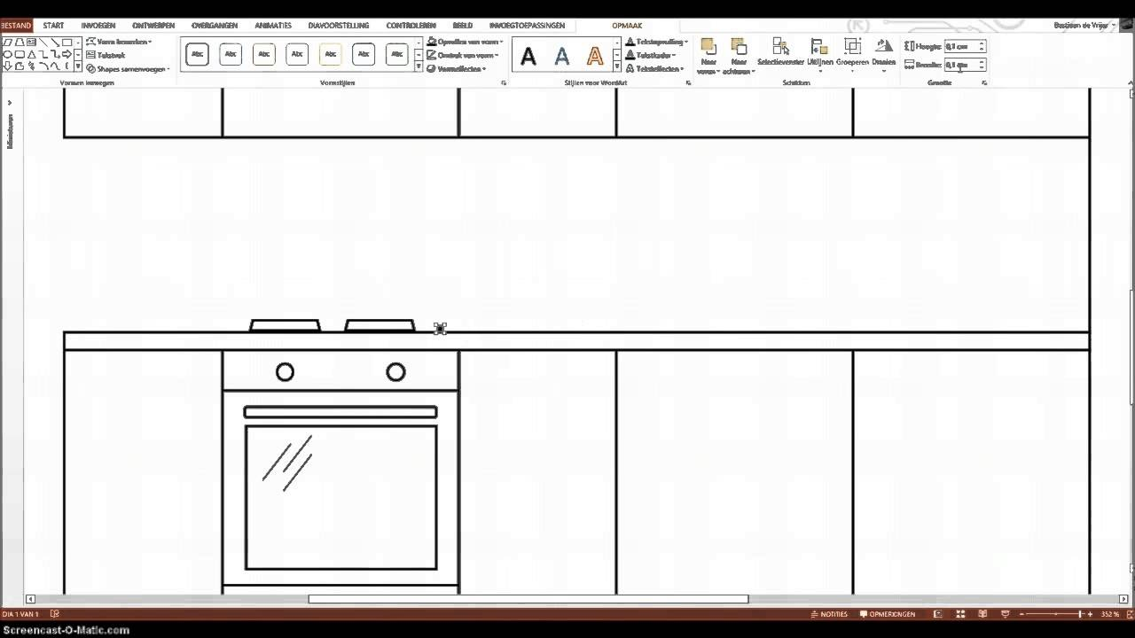 Simple Kitchen Drawing kitchen line drawing using powerpoint - youtube