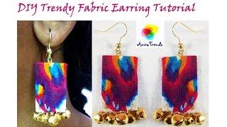 DIY Easy Fabric Earring / Textile Jewelry / Urban Tribal Jewelry Tutorial by Anira Trendz Manju