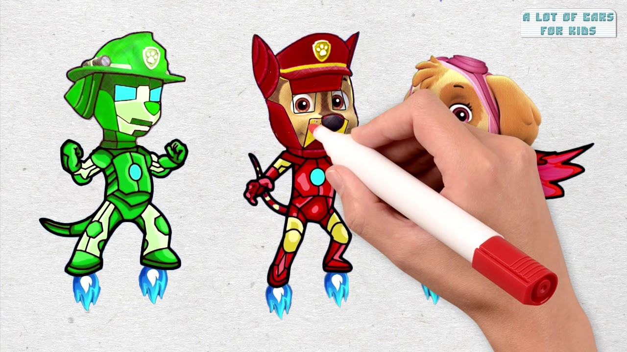 PAW Patrol as Ironman PJ Masks - Fun Coloring and Learning Videos for Kids