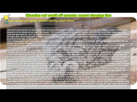 How to : Cleaning cat vomit off carpets: carpet cleaning tips