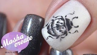 Модный маникюр с рисунком гель лаком «ЖУК». Дизайн ногтей «ЖУК» в технике бархатный песок