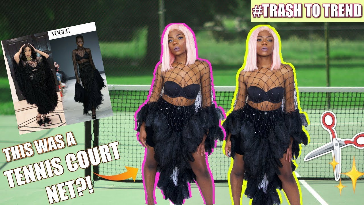 I TURNED A TENNIS COURT NET INTO AN OUTFIT?! NO SEW! | TrashToTrend Ep. 2