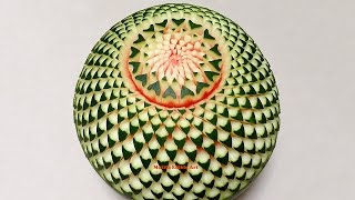 Repeat youtube video Watermelon Beautiful Cactus Flower - Advanced Lesson 15 By Mutita Thai Art Of Fruit And Veg Carving