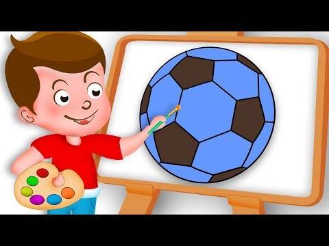 Drawing Football Soccer Ball Paint And Colouring For Kids Kids drawing TV