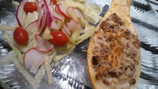 Cream Cheese And Sausage Stuffed Yellow Squash With Cuke Salad