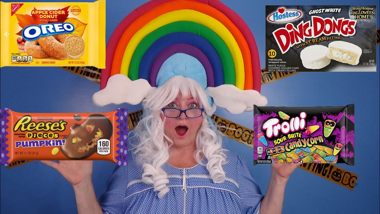 Halloween Candy M&Ms Reeses Nestle Crunch Oreos Cotton Candy Trolli Sour Brite