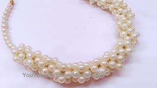 How To Make Pearl Necklace At Home..!