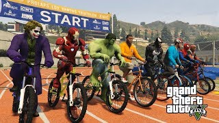 Superheroes Extreme Challenges Cycle Race with Spiderman, Ironman, Hulk and More