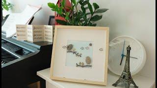 DIY-How to make watercolor- pebble art- Bird family- [Hướng dẫn làm tranh sỏi-màu nước]