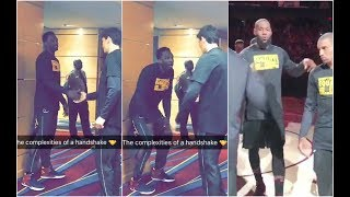 Cedi Osman & Jeff Green trying to learn their own handshake ahead of Cavaliers home intros