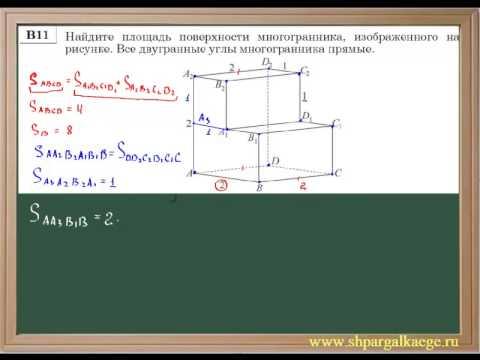 Нахождение площади поверхности многогранника