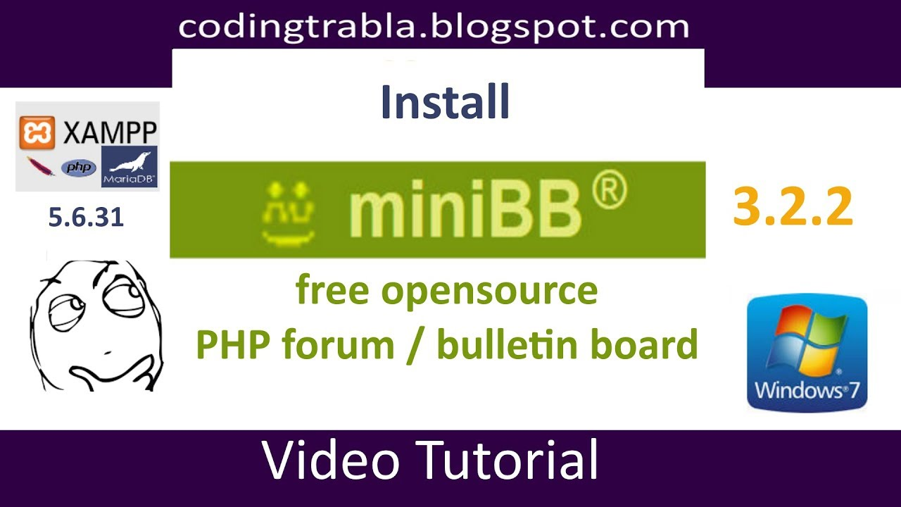 Install miniBB 3 2 2 PHP opensource Forum on Windows 7 localhost byAO