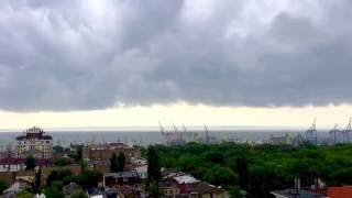 Fast low clouds above the Port of Odessa, Ukraine