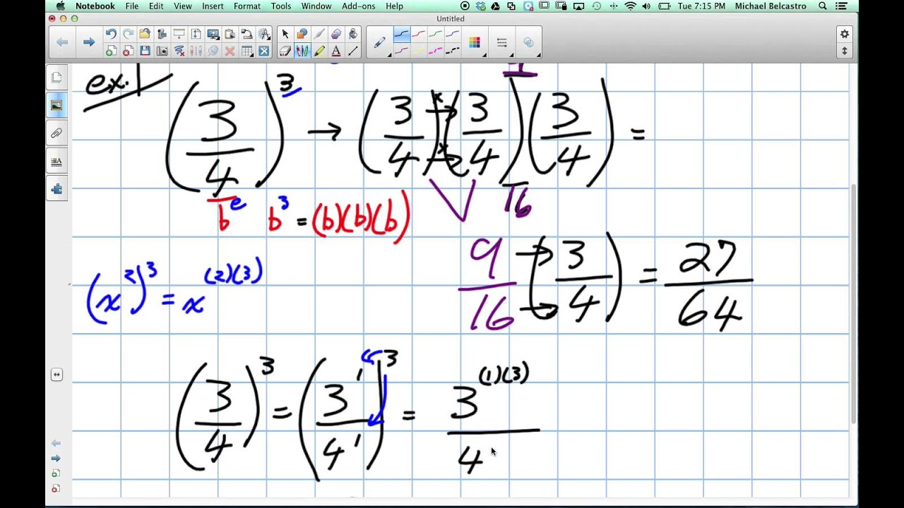 Evaluating Fraction Exponents Grade 9 Academic Lesson 3 2