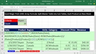 Excel Magic Trick 1346: Array Formula: Split Master Table into Sub Tables, Each Product on New Sheet