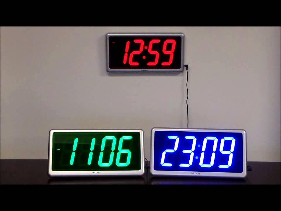 Ivation Large Display Electric Led Wall Table Clock With Remote