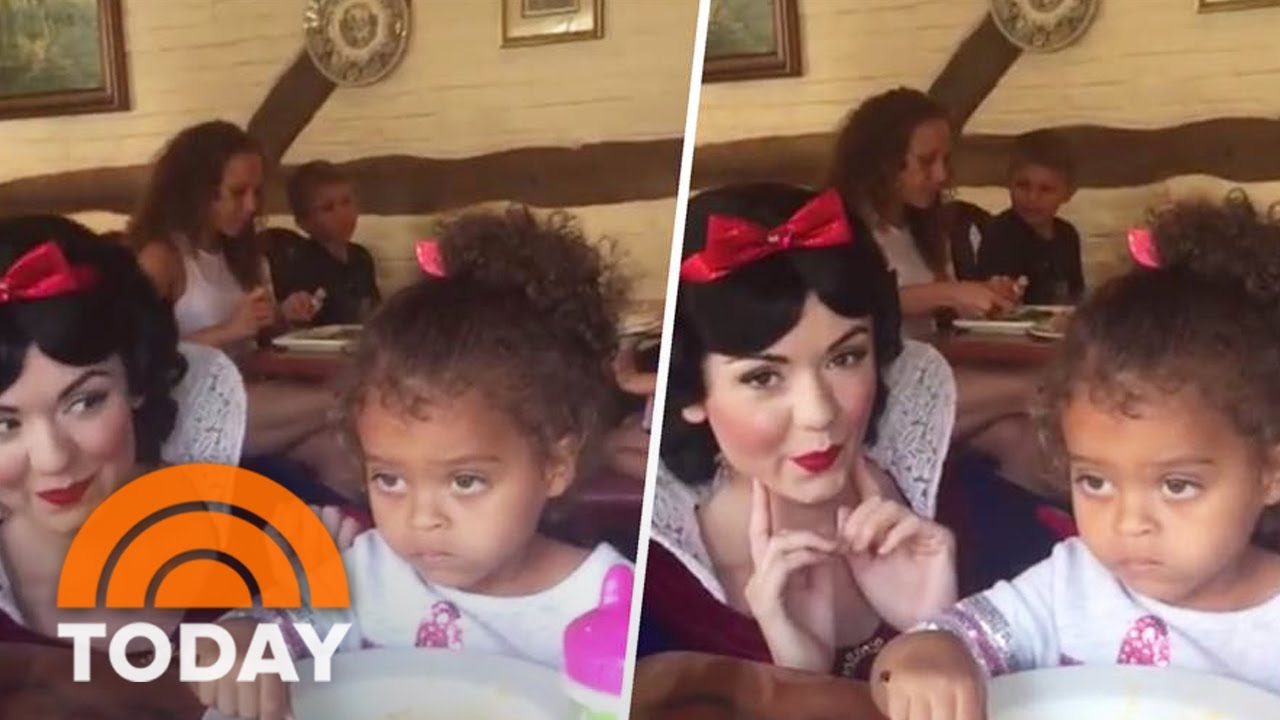 Little girl unimpressed by snow white just wants to eat her mac and cheese today