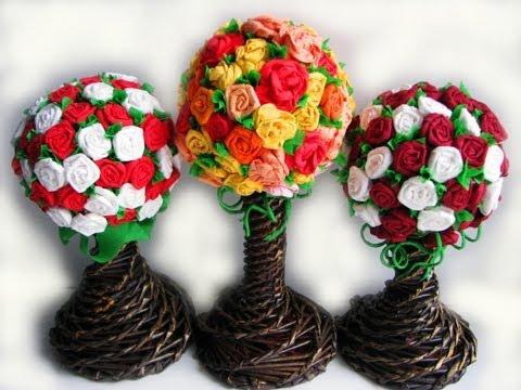 Видео  Цветы из бумаги. Часть IV. Топиарий / Flower topiary