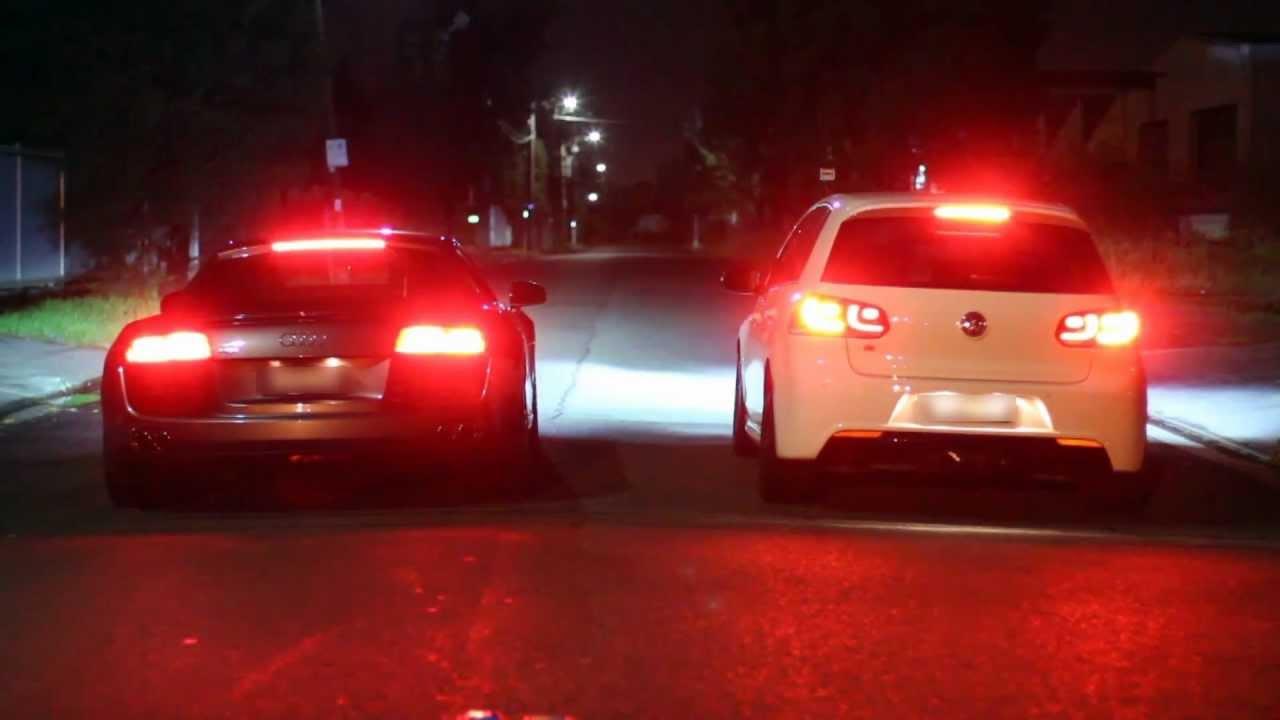 Audi R8 Vs Golf R Launch Control Apr Modified Youtube
