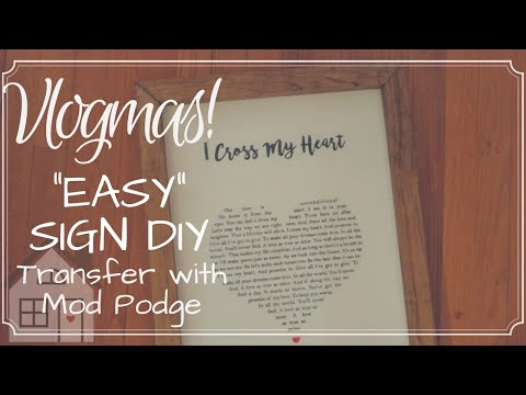 VLOGMAS: Day 10: Transfer Photo to wood with Mod Podge | Easy wooden sign DIY