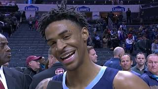 Ja Morant Celebrates First NBA Game Winner In Front Of Grizzlies Fans | Postgame Interview