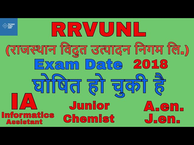RRVUNL IA Exam 2018, Junior Chemist, J.en. Exam Date Declared