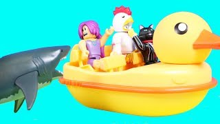 Roblox Sharkbite Duck Boat Playset + New Roblox Toy Collection ! Rubber Ducky Toy