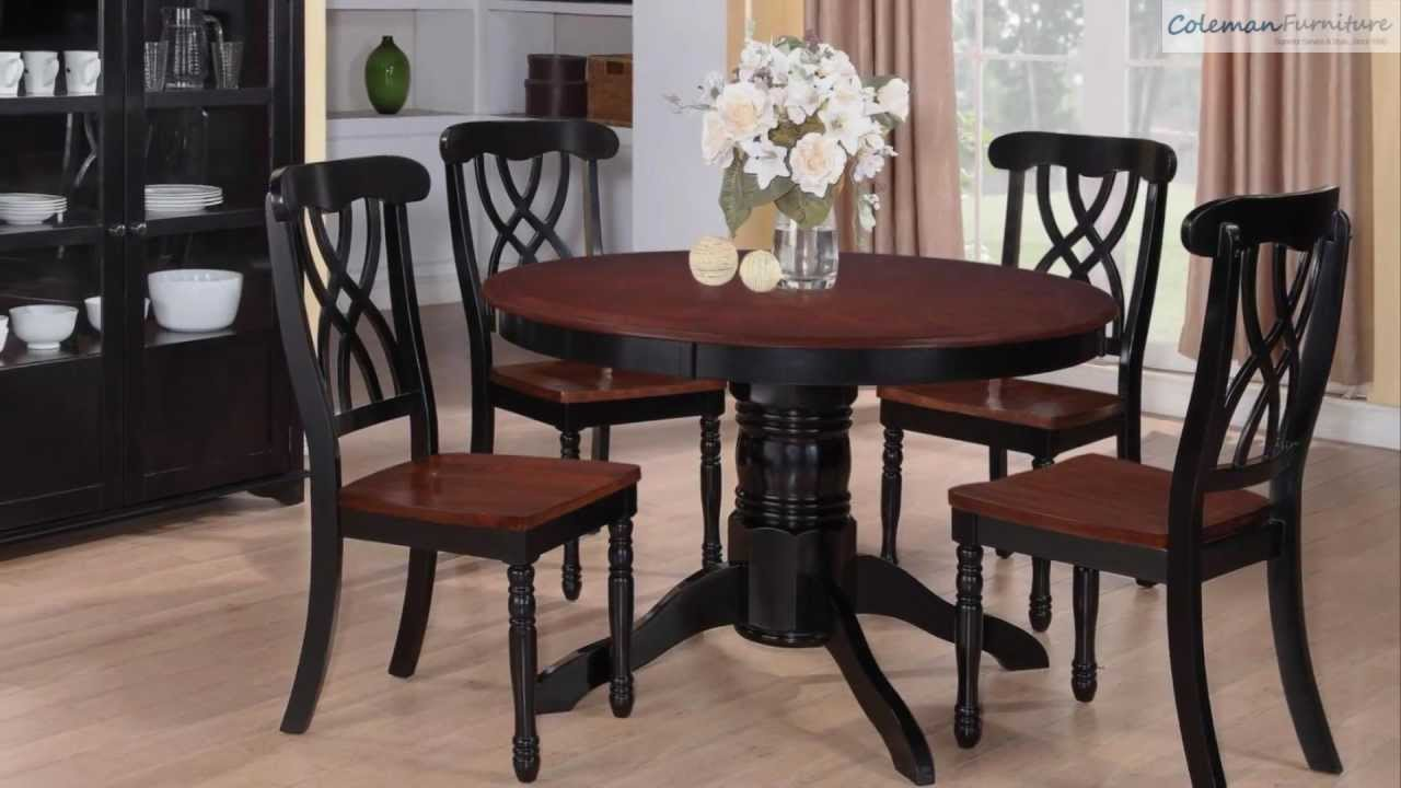 Addison black cherry round dining room collection from for Dining room tables you tube