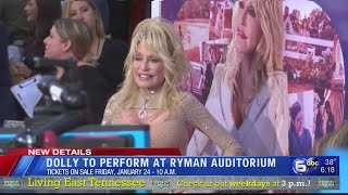 Dolly Parton to perform at Ryman Auditorium in Nashville