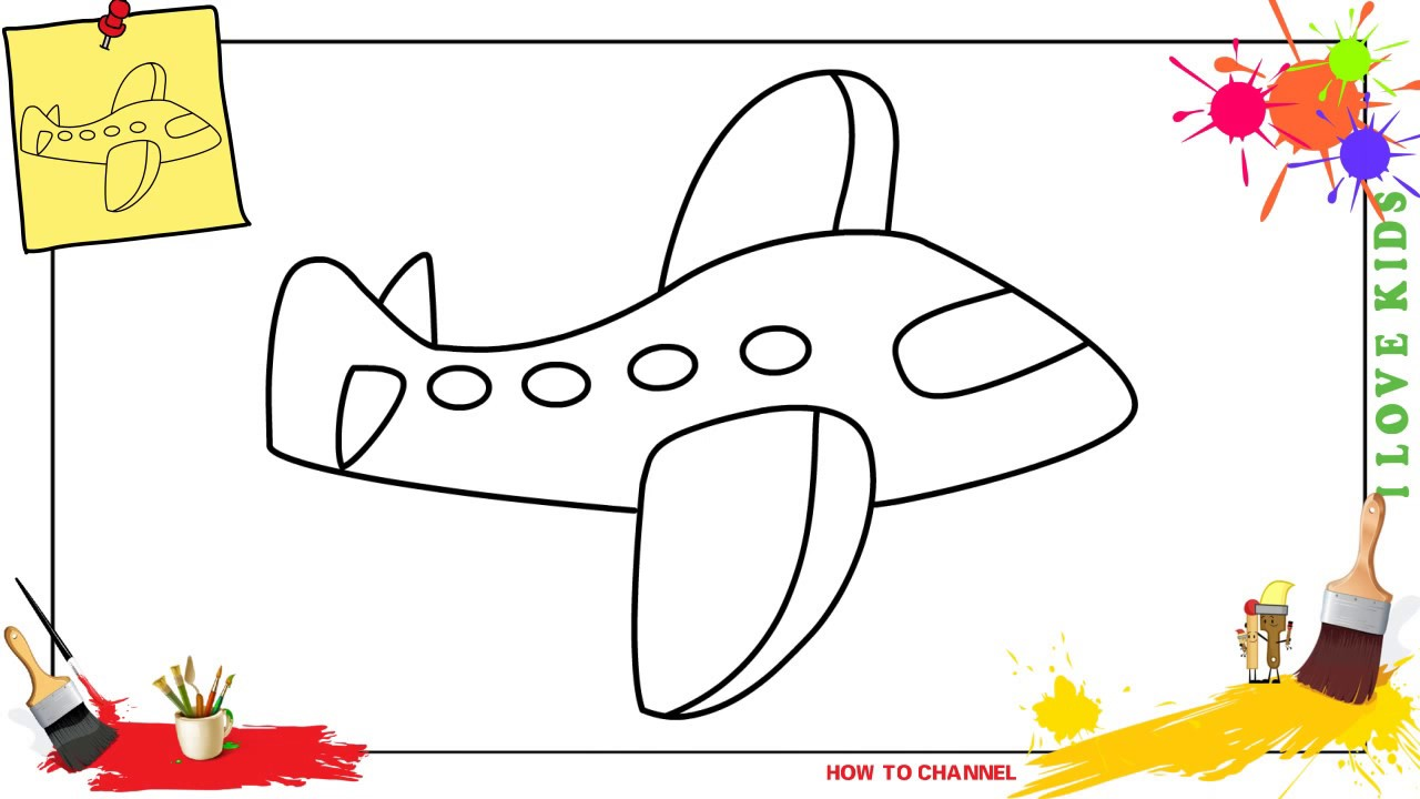 How to draw a plane easy step by step for kids beginners children 8