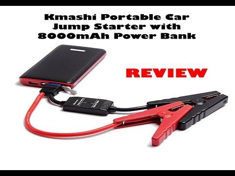 Portable Car Jump Starter >> Kmashi Portable Car Jump Starter with 8000mAh Power Bank ...