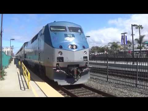 Trains in Oceanside Carlsbad Solona Beach and Washington Str