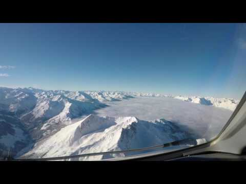 Cockpit view, approach and landing, Innsbruck Austria