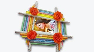 How to make PhotoFrame with color paper /DIY Paper wall decoration