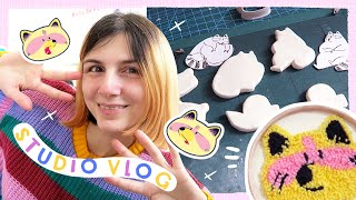 STUDIO VLOG #018 | A Productive and Creative Week! Clay Pins, Punch Needle and New Cool Products