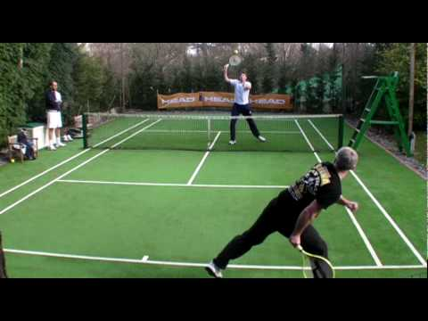touchtennis Chris Eaton trying out touchtennis against Justin Sherring paddle platform
